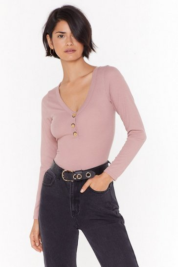 Rose Press It Ribbed Button Top