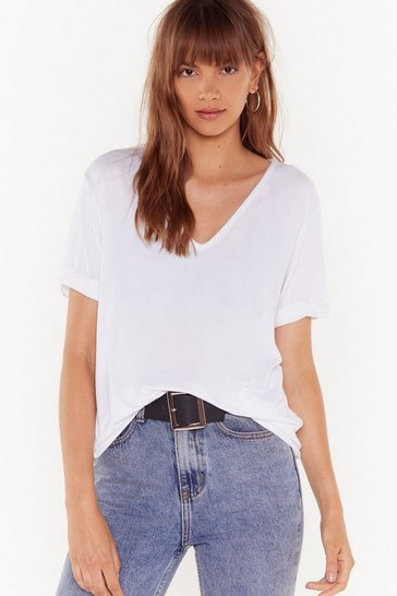 Womens White Riley Returns V-Neck Tee