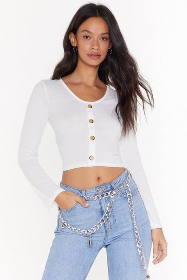 Womens Cream Soft at Heart Ribbed Button Top