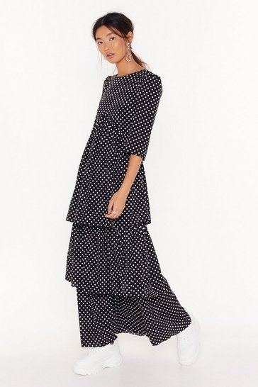 Womens Black Layer With Me Polka Dot Maxi Dress