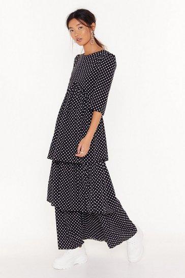 Black Layer With Me Polka Dot Maxi Dress