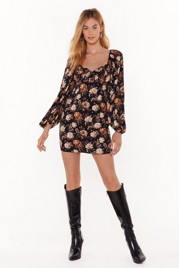 Womens Black Floral Square Neck Mini Dress