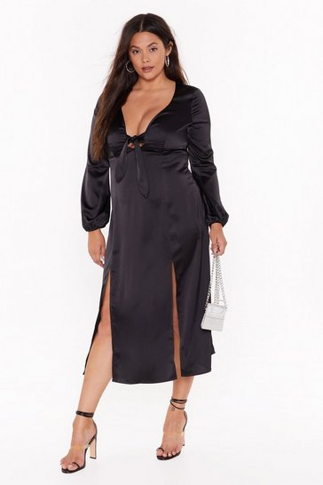 Black All Cut-Out of Patience Plus Satin Dress