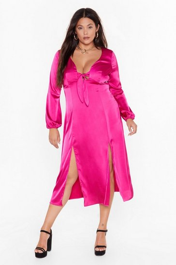 Hot pink All Cut-Out of Patience Plus Satin Dress