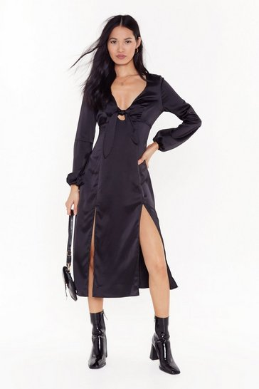 Womens Black All Cut-Out of Patience Satin Midi Dress