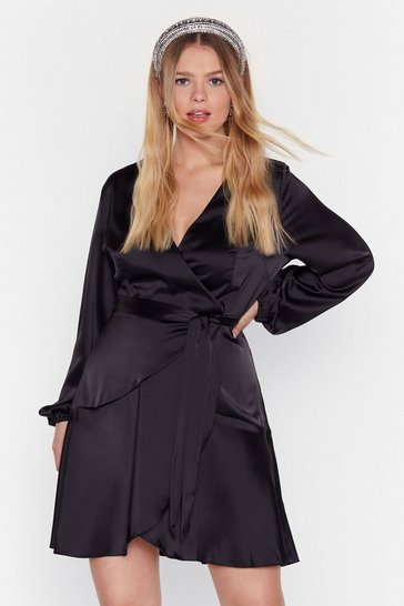 Womens Black Touch and Go Plus Satin Dress