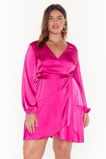 Hot pink Touch and Go Plus Satin Dress