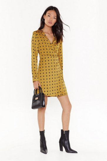 Womens Mustard Ain't Dot Far to Go Satin Mini Dress