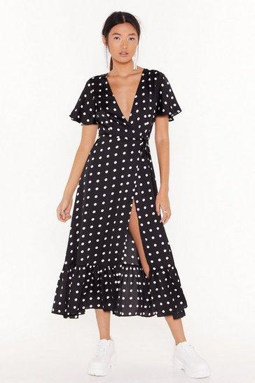 Black It's Dot Over Satin Midi Dress