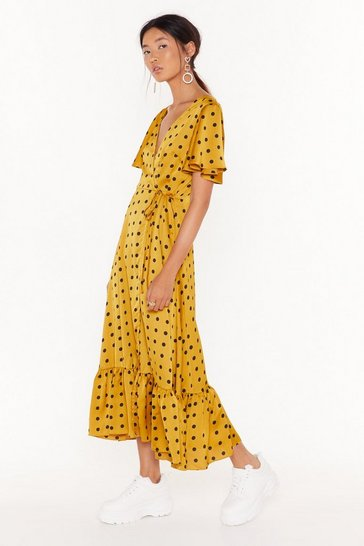 Womens Mustard It's Dot Over Satin Midi Dress