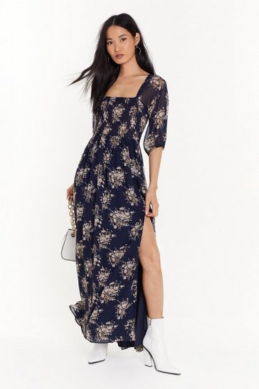 Womens Blue We're Sheer for You Floral Maxi Dress