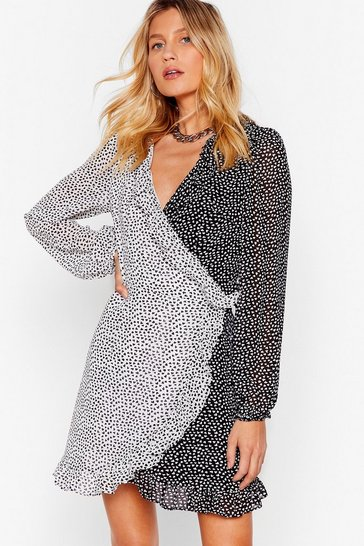 Black Mini Wrap Dress with Contrasting Heart Print