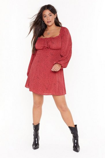 Womens Maroon Spot What You Want Plus Square Neck Mini Dress