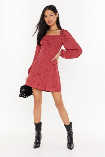 Maroon Spot What You Want Square Neck Mini Dress