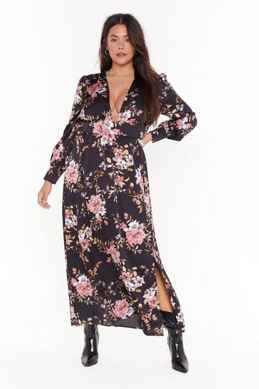 Black No If's or Buds Plus Floral Maxi Dress