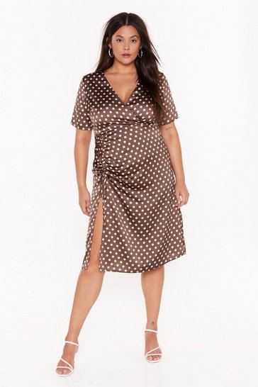Brown Dot Happy For You Plus Satin Dress