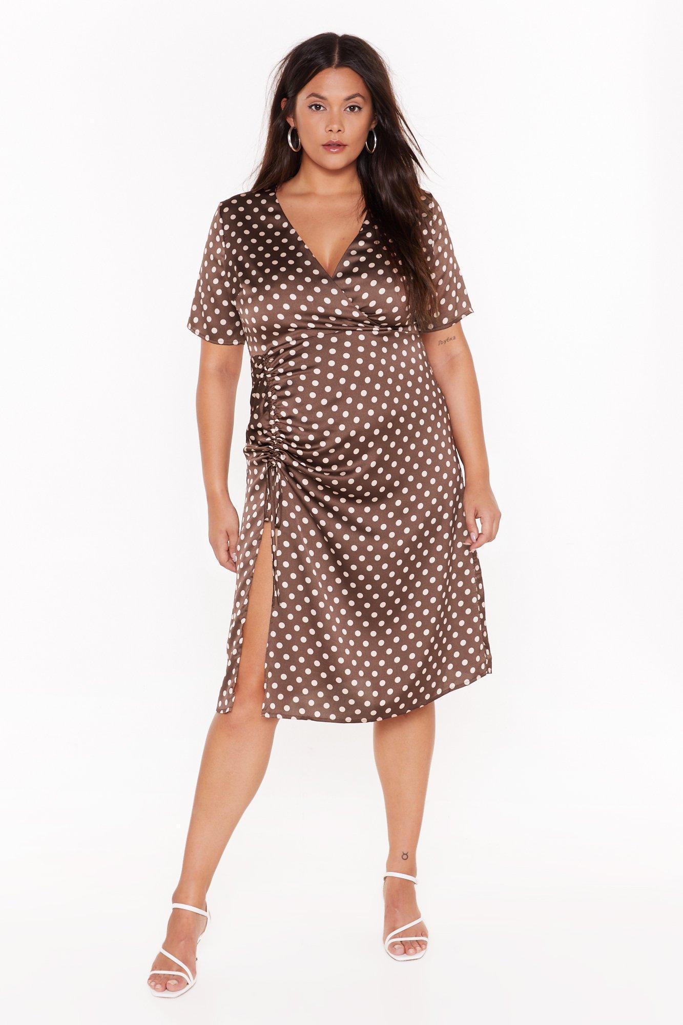 Dot Happy For You Plus Satin Dress 6