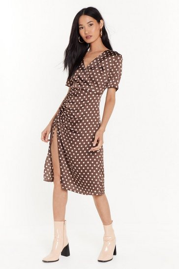 Womens Brown Dot Happy For You Satin Midi Dress