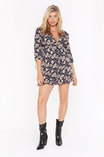 Womens Black Bud Not Tonight Floral Plus Mini Dress