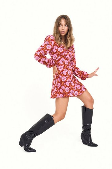 Burgundy Groove is in the Heart Floral Mini Dress