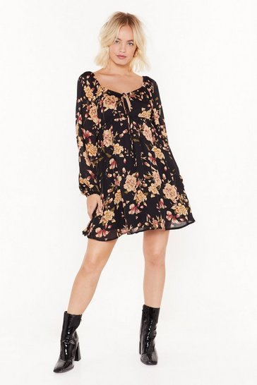 Grow It Away Floral Mini Dress, Black, FEMMES