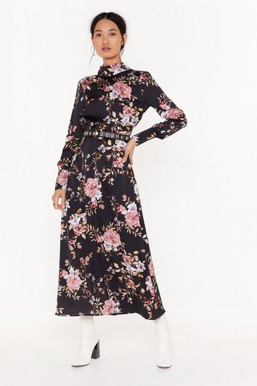 Black No Ifs or Buds Floral Satin Maxi Dress