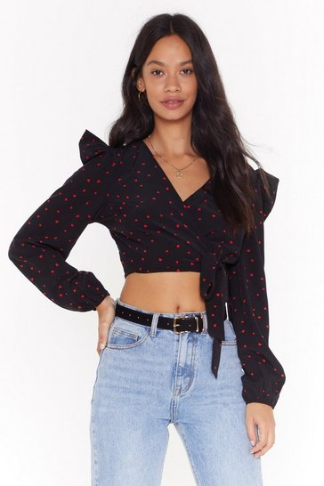 Womens Black Heart on Your Sleeve Cropped Wrap Blouse