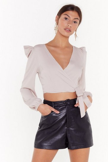 Womens Stone Power Stance Puff Shoulder Wrap Top