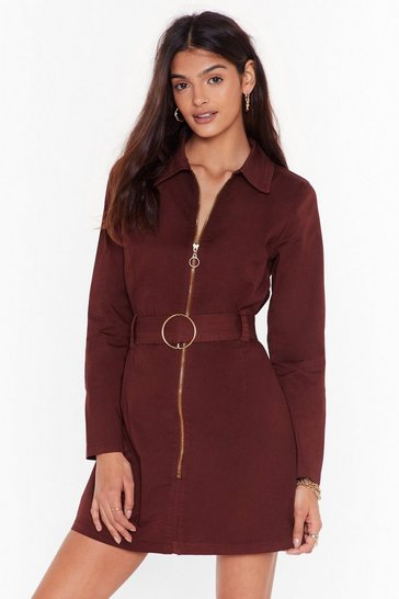 Chocolate O-Ring Me Up Denim Belted Mini Dress