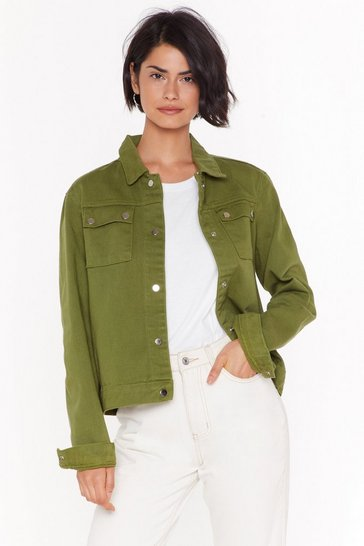 Olive We Didn't Jean It Relaxed Denim Jacket