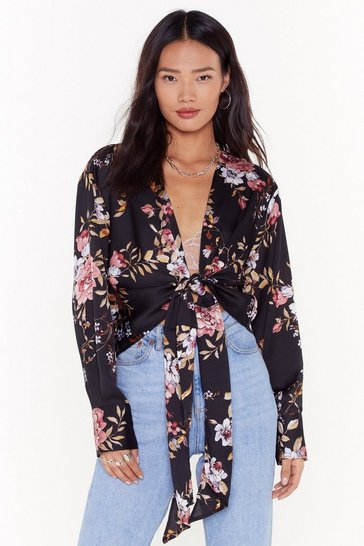 Black No Ifs or Buds Floral Satin Blouse
