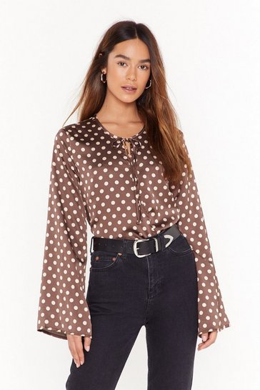 Womens Brown Dot Happy For You Satin Tie Blouse