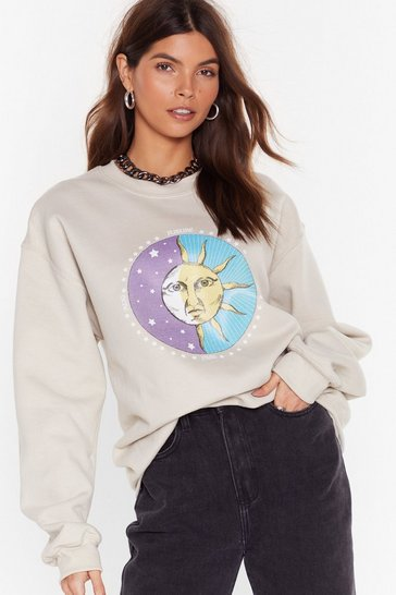 Sand Celestial Being Sun and Moon Graphic Sweatshirt