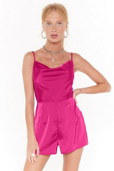 Hot pink Cowl Down Satin Romper
