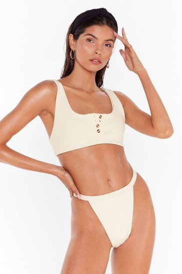 Womens Cream Come Sea Me Ribbed High-Leg Bikini Set