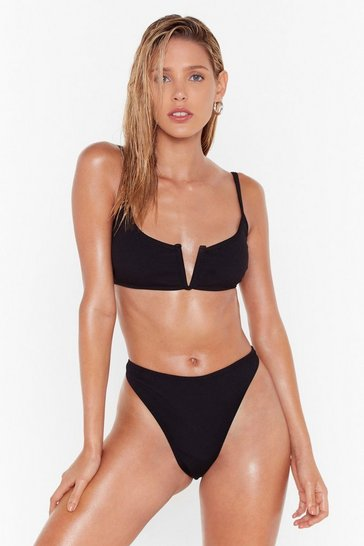 Womens Black Notch Over You High-Leg Bikini Set