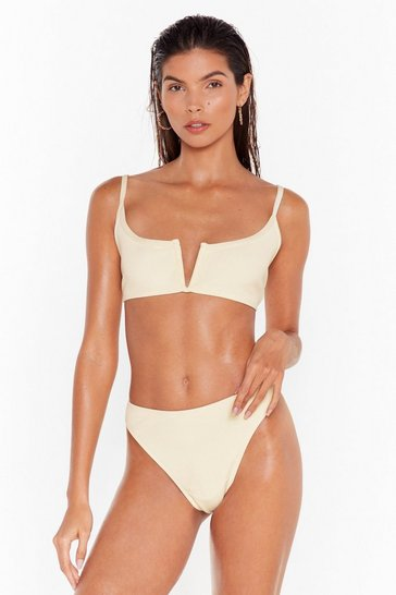 Cream Notch Over You High-Leg Bikini Set