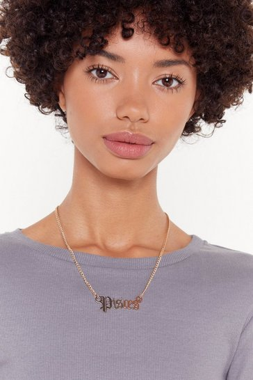 Womens Gold Pisces Starsign Necklace