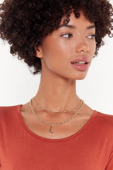 Womens Gold L Initial Layered Necklace