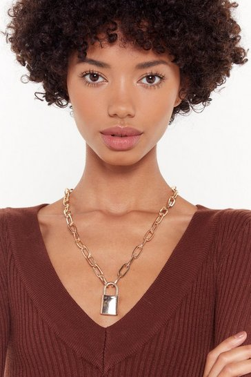 Womens Gold Chunky Chain Padlock Necklace