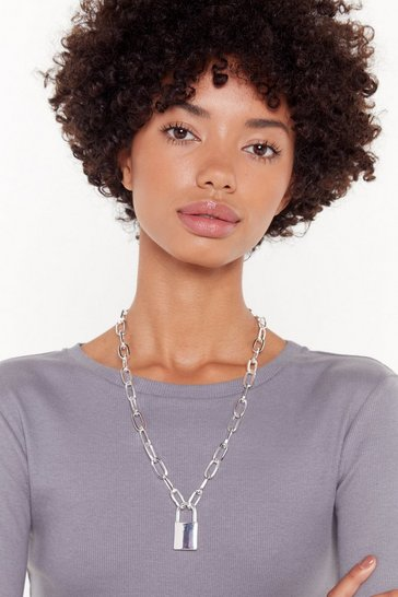 Womens Silver Chunky Chain Padlock Necklace