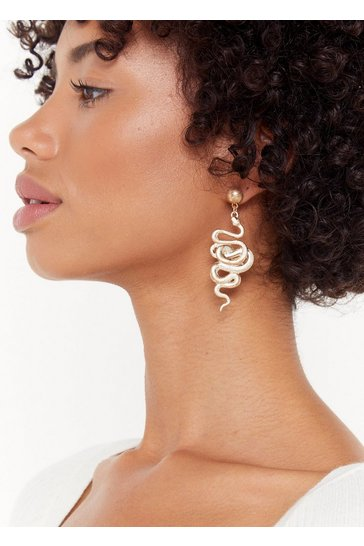 Womens Gold When the Snake Drops Earrings