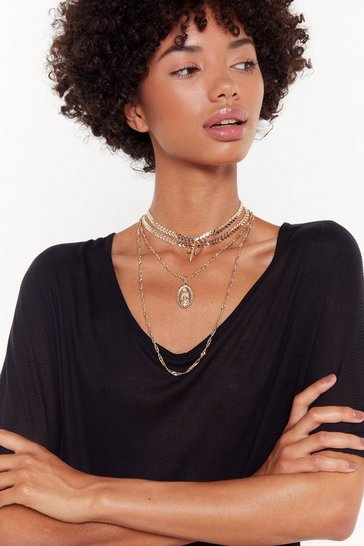 Womens Gold Answer Your Layers Cross and Pendant Necklace