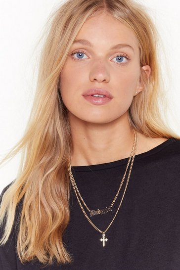 Womens Gold Gothic Italic Babygirlk Cross Layered Necklace