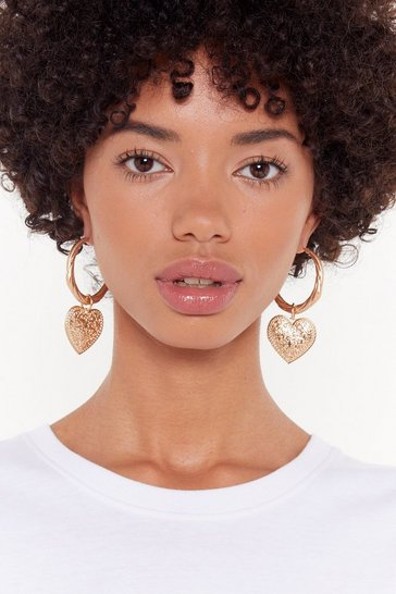 Womens Gold Heart's in It Chunky Hoop Earrings