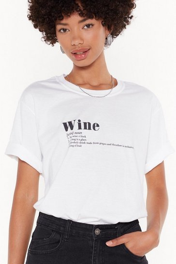 Womens White The Definition of Wine Graphic Tee