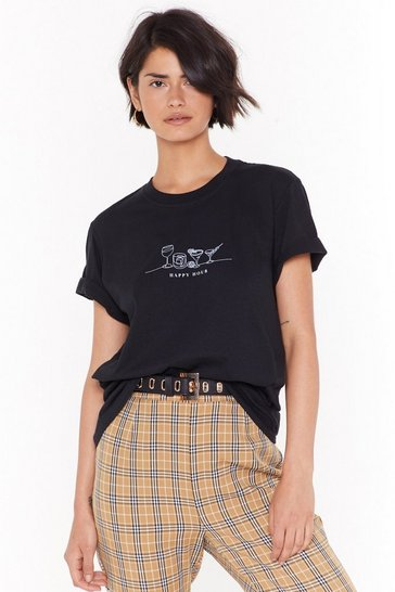 Womens Black Happy Hour is in Sight Graphic Tee