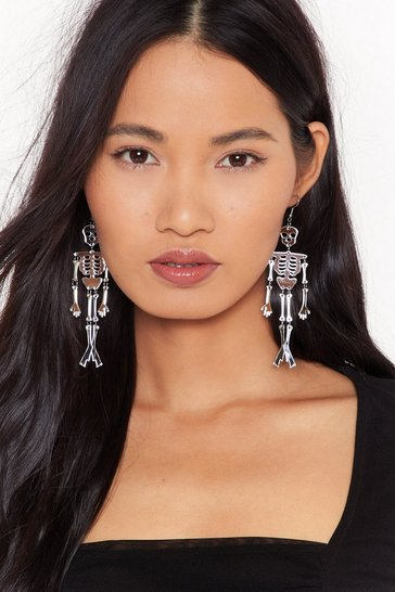 Womens Silver Let's Bone Skeleton Drop Earrings