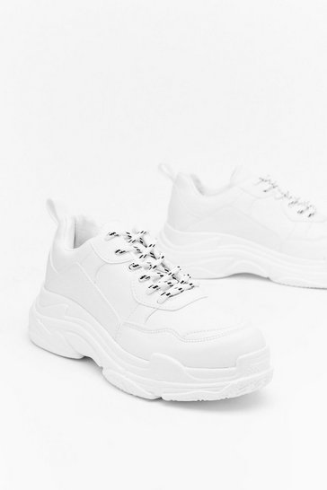 Womens White I'm a Blogger Chunky Hiker Sneaker
