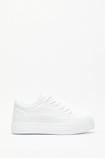 Womens White Always on the Run Faux Leather Platform Sneakers